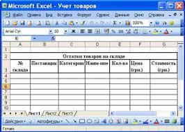 Реферат электронная таблица excel Реферат стр  3 Для ввода заголовка таблицы необходимо установить курсор в ячейку a2 и ввести название таблицы Остатки товаров на складе
