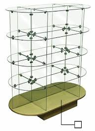 round glass display unit glass display stand glass shelves