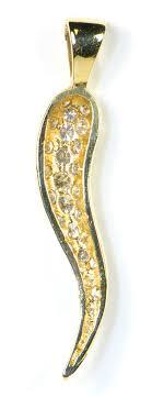 diamond italian horn pendant 14k yellow gold 1ct si clarity