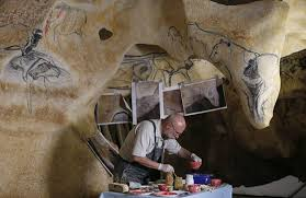 french artist gilles too works on full scale reions of the chauvet cave paintings for