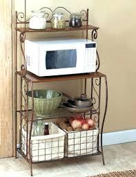 wooden microwave cart bakers rack 2 baskets kitchen storage metal microwave stand rustic wood shelf