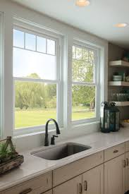 Valance For Kitchen Windows Valence Grids Give These Kitchen Sink Windows A New Sophistication