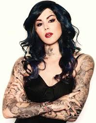 kat von d a famous tattoo artist makeup designer is the epitome of biker chic with her bright red lipstick pale skin and tattoos she oozes biker