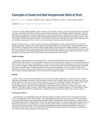 interpersonal savvy pdf examples of good and bad interpersonal skills at work
