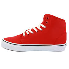 vans shoes red and white. vans-106-hi-rqm6rt-mens-laced-canvas-trainers- vans shoes red and white
