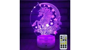 Insonjohy Unicorn Kids Night Lights Bedside Lamp 7 Colors Change