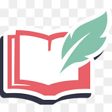 quill and books feather logo cartoon png and vector
