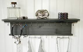 wall mounted dark gray wooden jewelry organizer shelf