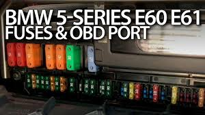 bmw e60 e61 cabin fuses and obd2 port 5 series maintenance bmw e60 e61 cabin fuses and obd2 port 5 series maintenance diagnostics