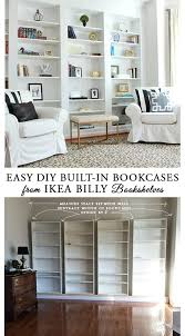 how to diy the look of built in library bookcases from ikea billy bookcases
