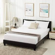 Mecor Queen Bed Frame - Faux Leather Upholstered Bonded Platform Bed/Panel Bed - with Headboard - No Box Spring Needed - for Adults Teens ...