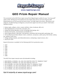 geo prizm repair manual 1990 1997