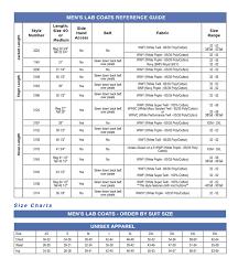 Unisex Lab Coat Size Chart Lab Coat Mens Full Length 3138