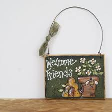 bumble bee welcome sign hand painted from ramshackles
