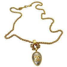 chanel 1990s gold plated pendant necklace