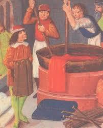 Ремесленники и цехи в Средние века История Средних веков  Окраска материи Миниатюра xv в