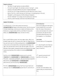 language of film review sample sentences