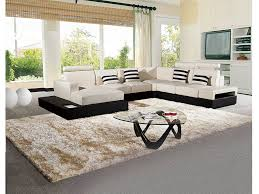 4pcs ivory brown faux leather sectional sofa