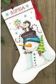 snowman christmas stockings. Modren Snowman Jolly Trio Christmas Stocking  Cross Stitch Kit Throughout Snowman Stockings S
