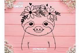 All contents are released under creative commons cc0. Sloth Svg Sloth Flower Crown Svg Flower Crown Svg Sloth C 751504 Illustrations Design Bundles
