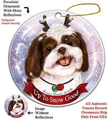 Holiday Pet <b>Gifts</b> Shih Tzu Chocolate/<b>White</b> Dog <b>Porcelain</b> ...