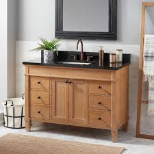 Real wood bathroom vanities Floating Vanity 48 Signature Hardware Solid Wood Vanity Signature Hardware