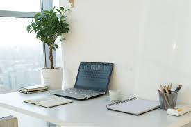 home office work table. Download Side View Picture Of Studio Workplace With Blank Notebook, Laptop. Designer Comfortable Work Home Office Table