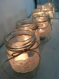Decorating Candle Jars 60 Rustic Lace Glass JAR Candle Holder Wedding Christmas 44