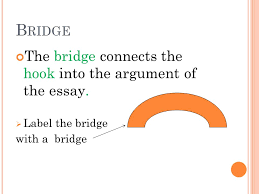 e ssay v ocabulary a n essay is an answer to the teacher given  b ridge the bridge connects the hook into the argument of the essay
