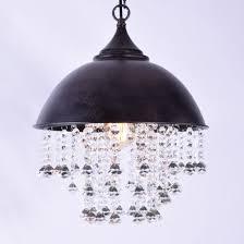 Baycheer Lampe Industrie Vintage Kristall Deckenleuchte Hängeleuchter Mit 49 Kristal Ketten Schwarz