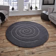 spiral grey round rug