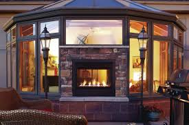 double sided fireplace artistic blend efficient two sided fireplace indoor outdoor for double sided