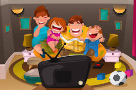 kids watching tv clipart. a vector illustration of happy whole family watching television together kids tv clipart r