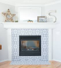 diy fireplace makeover with vinyl tiles