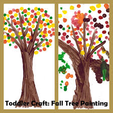 Toddler Craft: Q-tip Fall Tree painting