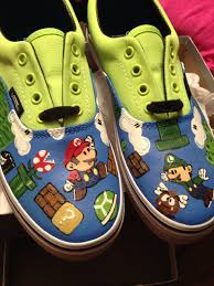 Cool Designs To Paint On Shoes Mario Bros Custom Painted Vans Facebook Com