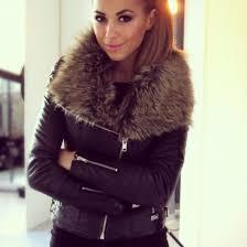 black leather and fur jacket qniyzb