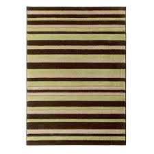 brown green striped rug hover over image to zoom