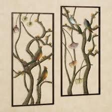 ... Wall Panel Art Asian Garden Metal Set Scultures Cute Four Birds Branch  Flowers Rectangle Unique Design