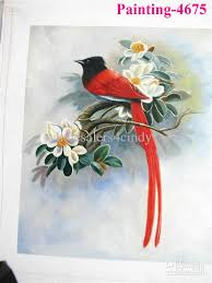 oil paintings of birds and flowers