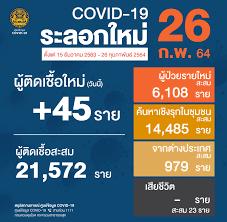 ยอด 'โควิด-19' วันนี้ ไทยพบผู้ติดเชื้อเพิ่ม 45 ราย ยอดผู้ป่วยสะสม 37 ราย
