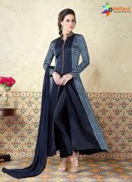 Front Open Salwar Designs Stunning Navy Blue Satin Designer Front Open Anarkali Suit