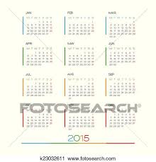 Simple Calendar Template 2015 Calendar 2015 Vector Desing Template Clipart