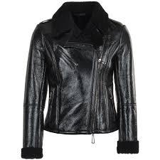 lamb shearling biker pilot jacket black jocasta