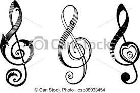 treblecleff treble clef in different styles vector illustration clipart vector
