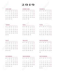 Calendar For 2019 Year Week Starts Monday Vector Illustration