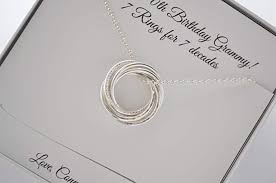 70th birthday gift for mom gift for grandma 7 rings necklace gift for