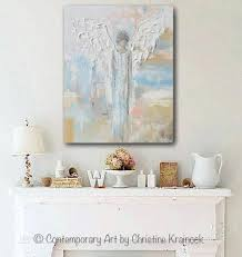 giclee print abstract angel painting guardian angel spiritual blue blush gold contemporary wall art on blue gray and white wall art with giclee print abstract angel painting modern gallery wall art blue