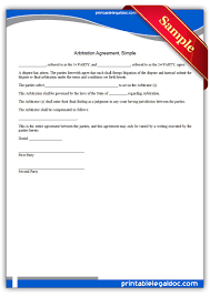Arbitration Agreement Free Printable Arbitration AgreementSimple Legal Forms Free Legal 1