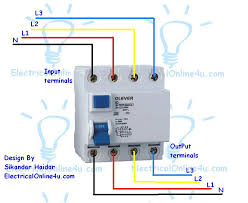 how to wire a 4 pole rcd circuit breaker for 3 phase 4 wire system rcd wiring